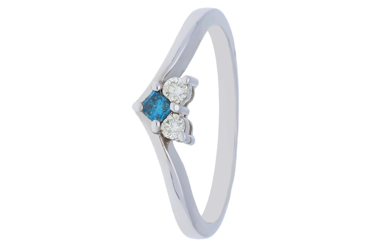 Inel de logodna cu diamante si aquamarin  aur alb 18k