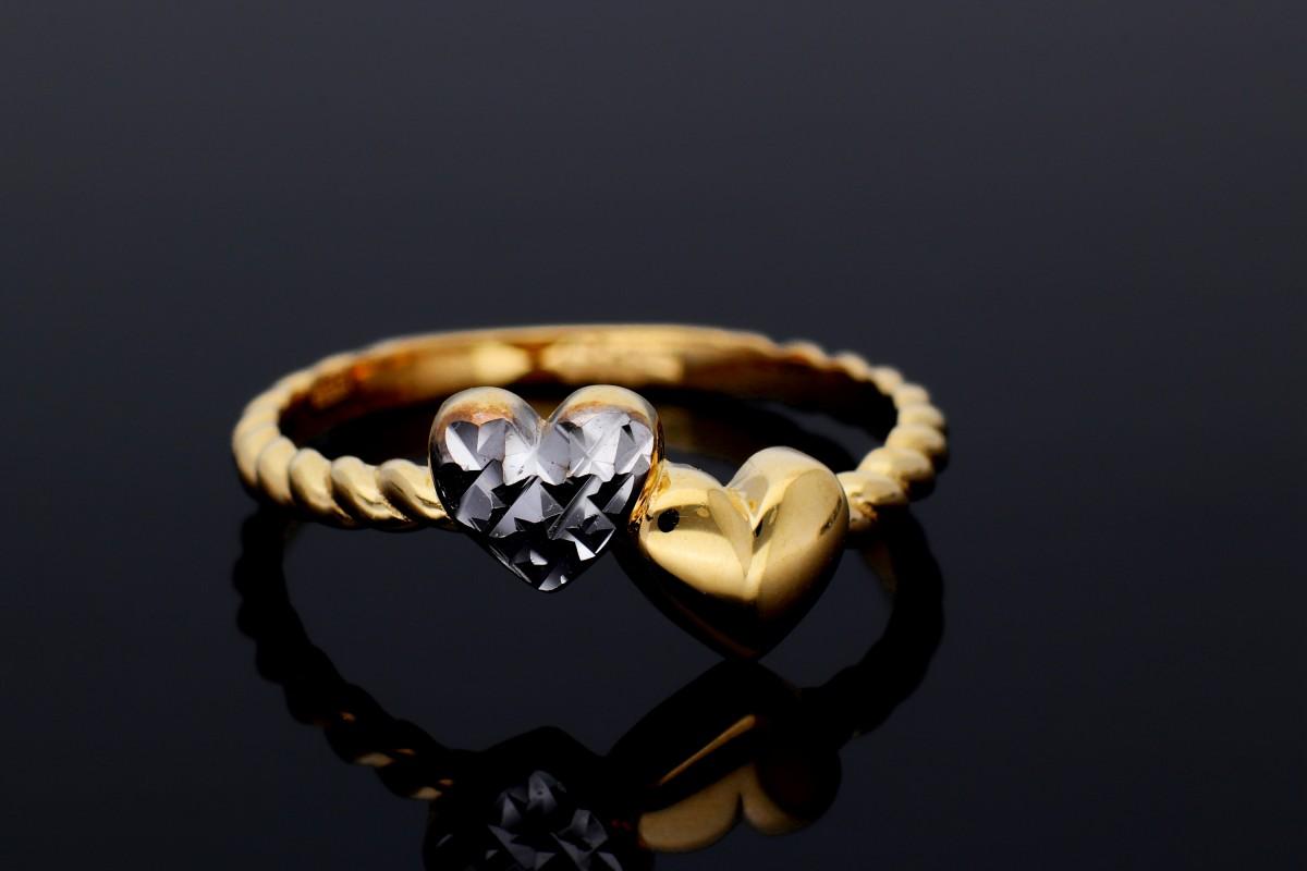 Bijuterii aur online - Inele dama aur 14K alb si roz inimioare