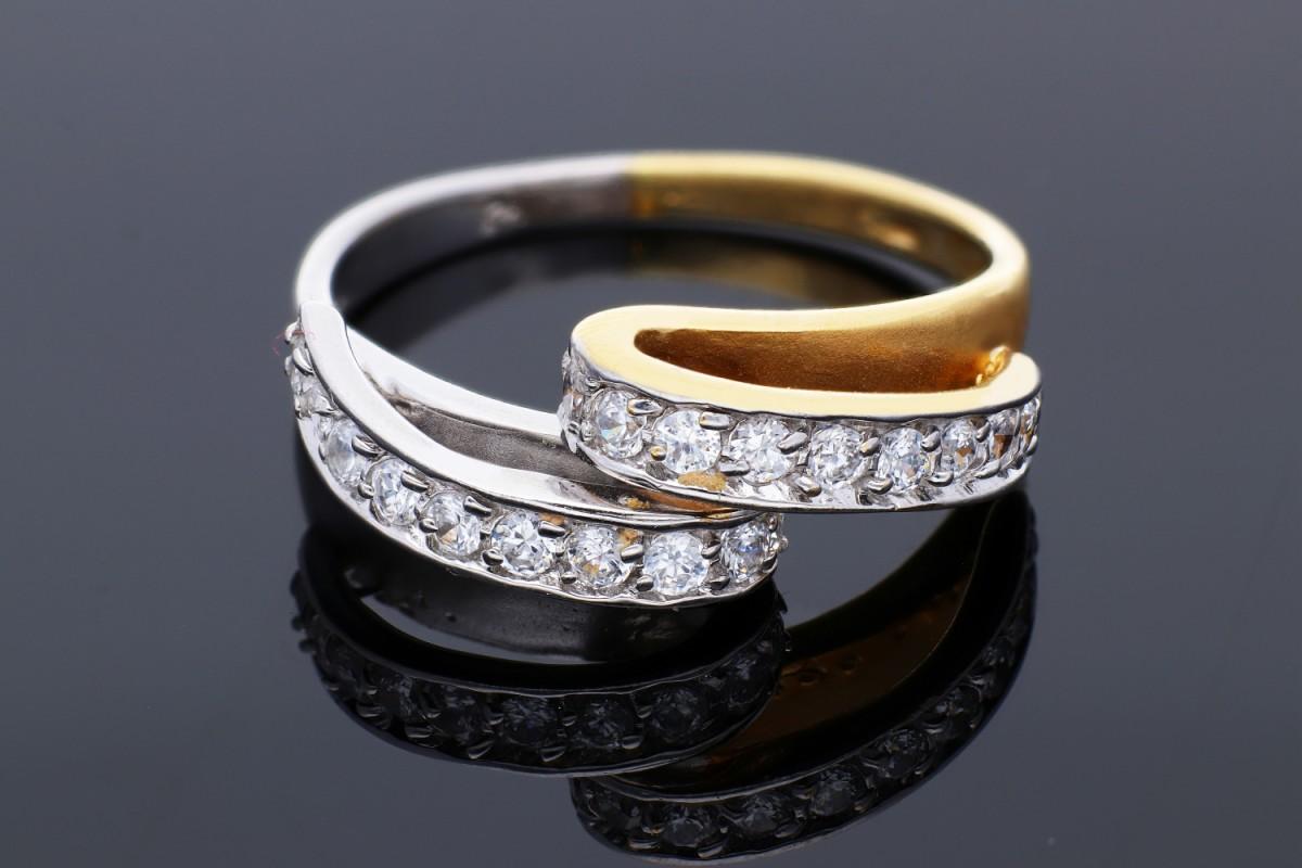 Inel din aur 14K alb si galben zirconia model deosebit