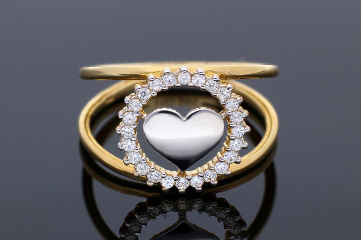 Bijuterii din aur - Inel aur 14K alb si galben #thisheartofmine