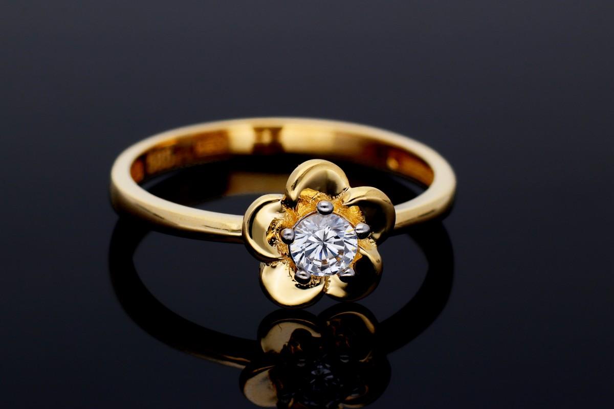 Inel din aur 14K galben floricica