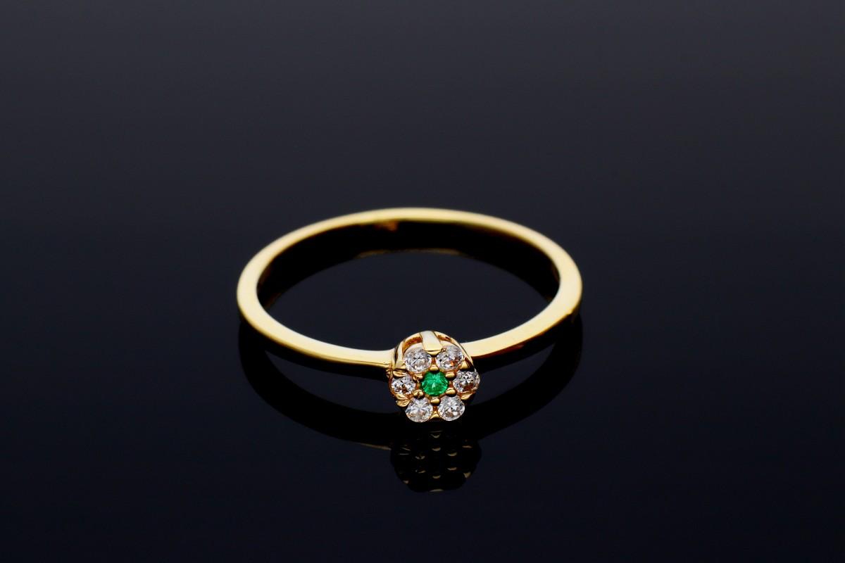Bijuterii din aur - Inel din aur 14K galben zirconia verde