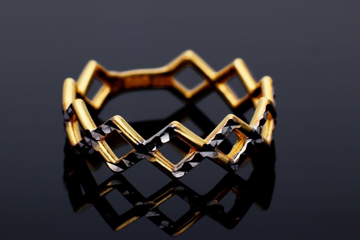 Bijuterii aur online - Inele din aur 14K alb si galben geometry