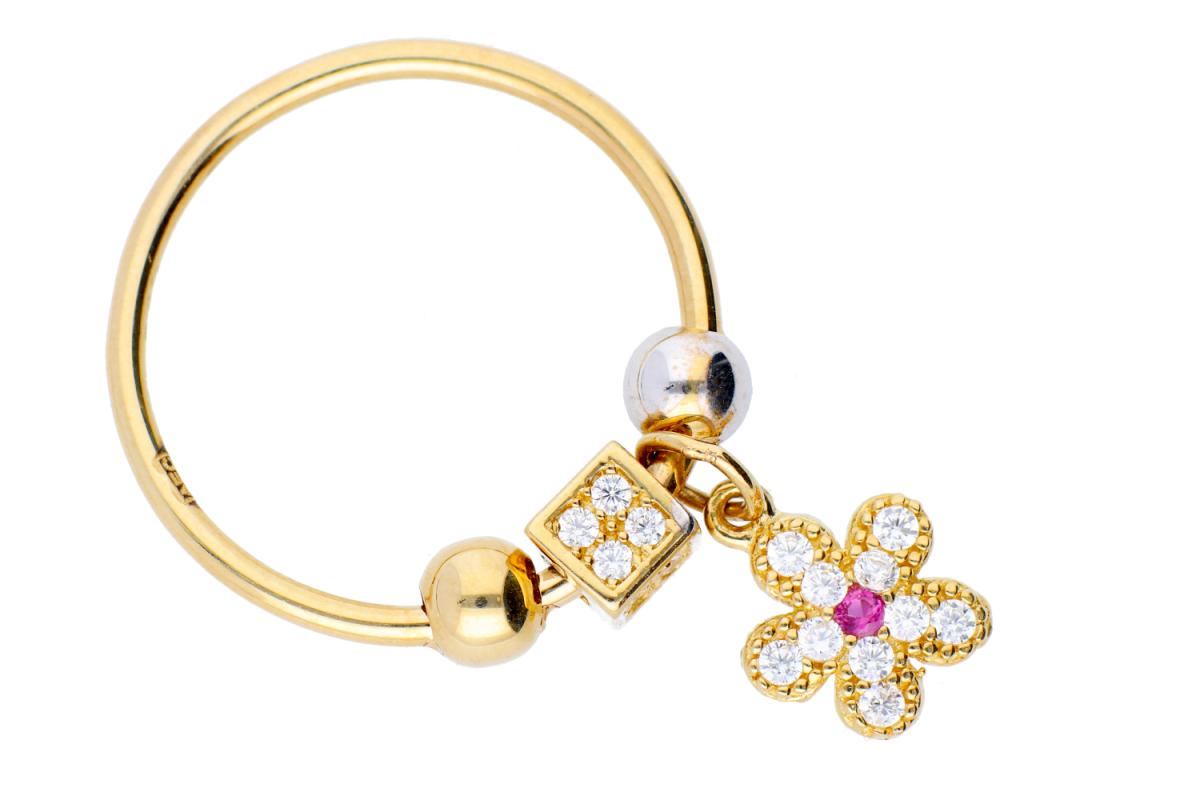 Bijuterii aur online - Inele cu charm din aur 14K alb si galben floricica