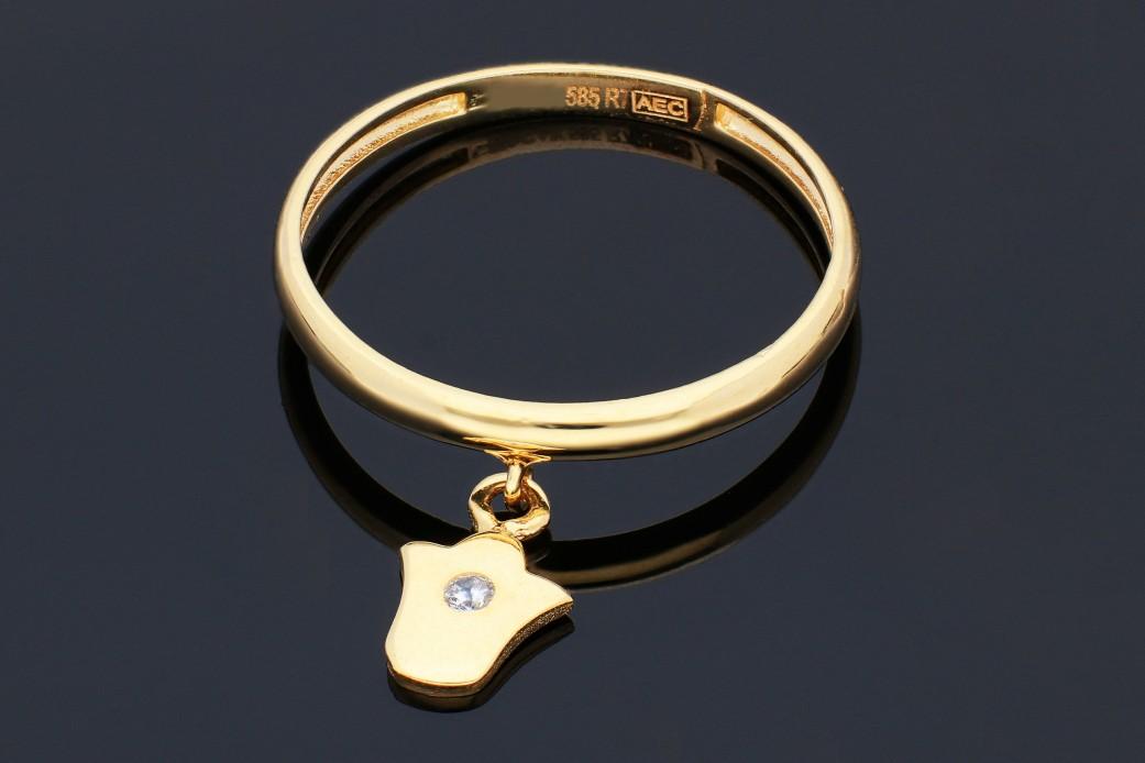 Inel cu charm din aur 14K galben lalea