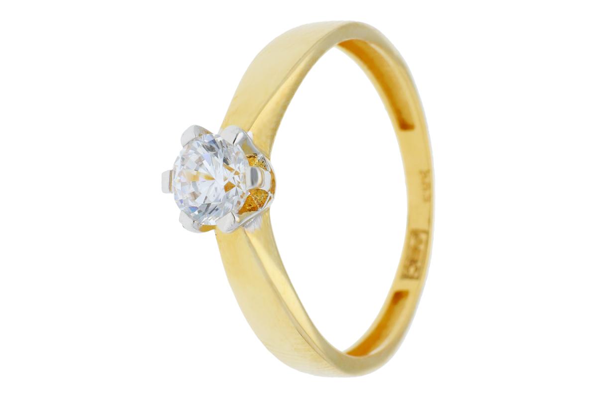 Inel de logodna aur 14K galben si alb