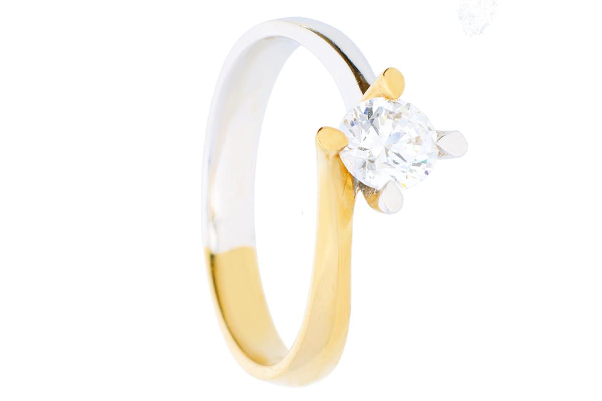 Bijuterii aur online - Inel de logodna aur 14K alb si galben