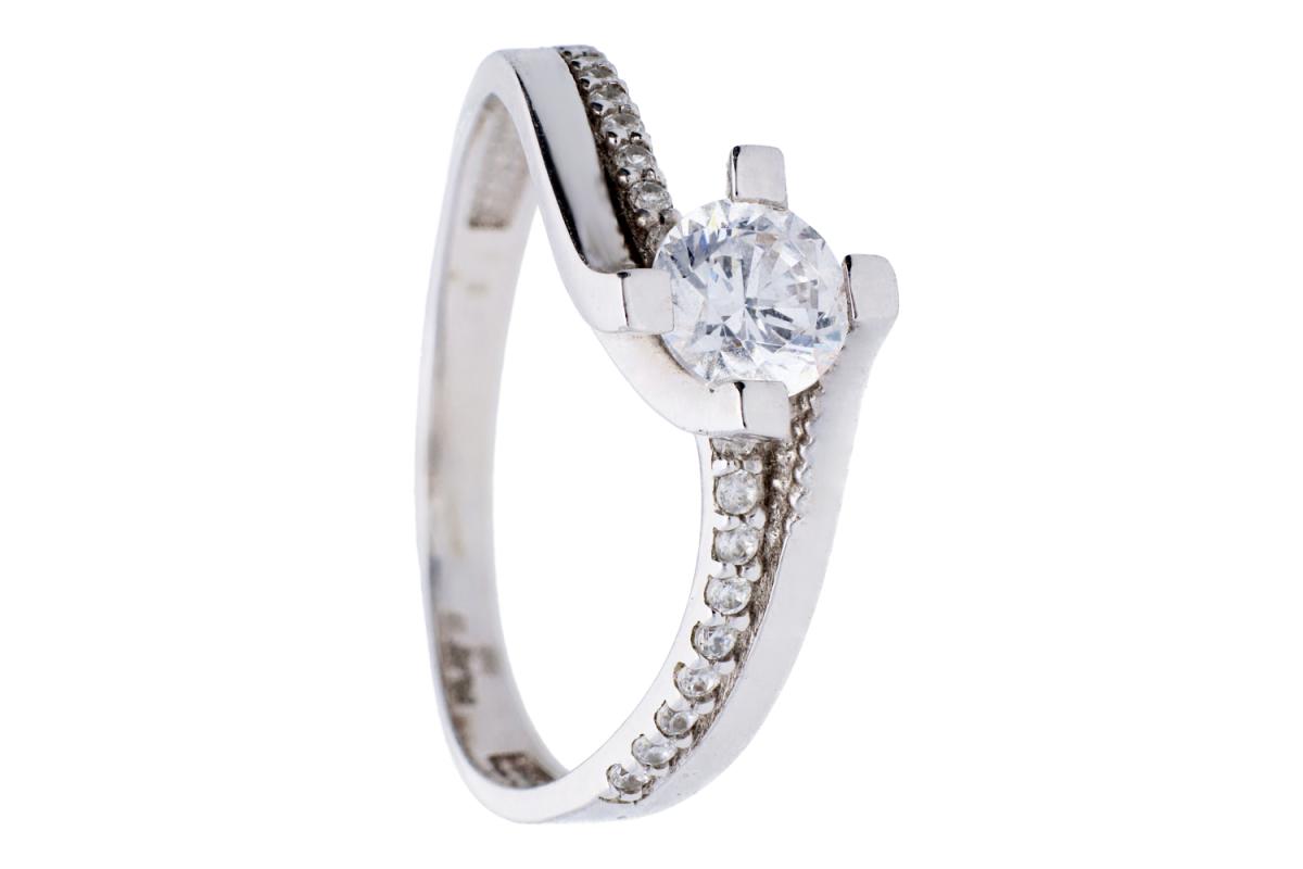 Bijuterii aur online - Inele de logodna dama din aur 14K alb
