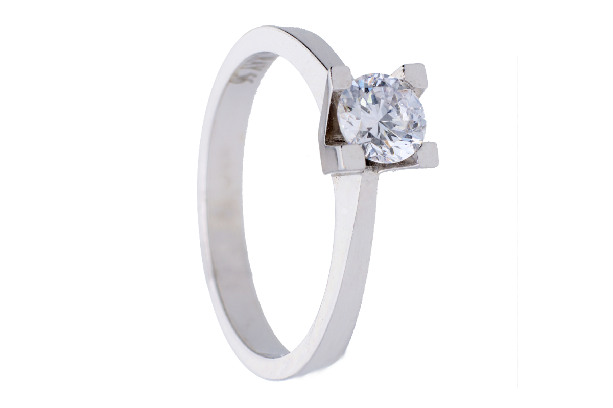 Inel de logodna dama din aur 14K alb zirconia