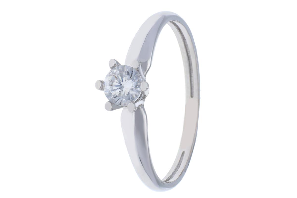 Inel de logodna dama din aur 14K alb