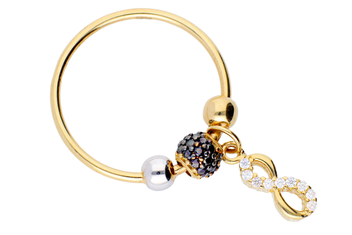 Bijuterii aur online - Inele cu charm dama aur 14K alb si galben infinit