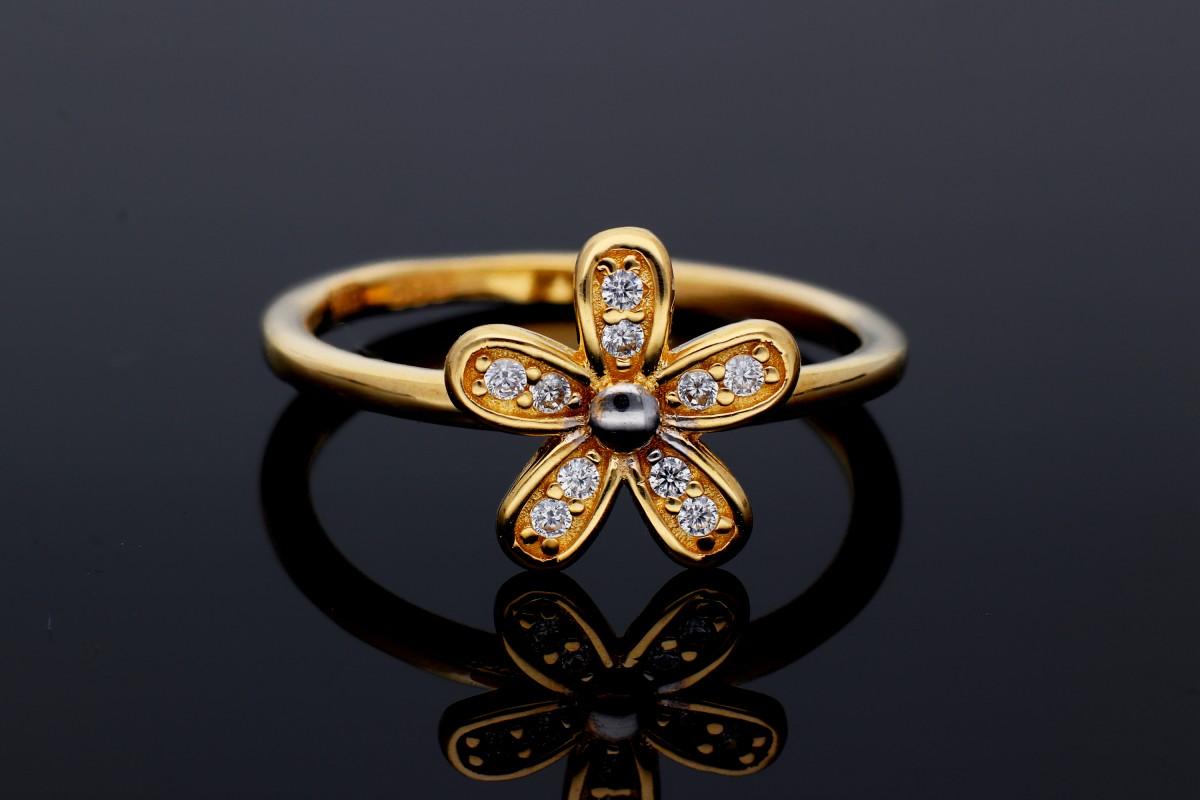 Bijuterii din aur - Inel din aur 14K alb si galben floricica zirconii