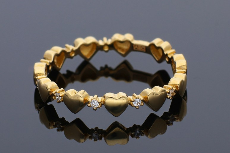 Inel din aur 14K galben inimioare pietricele