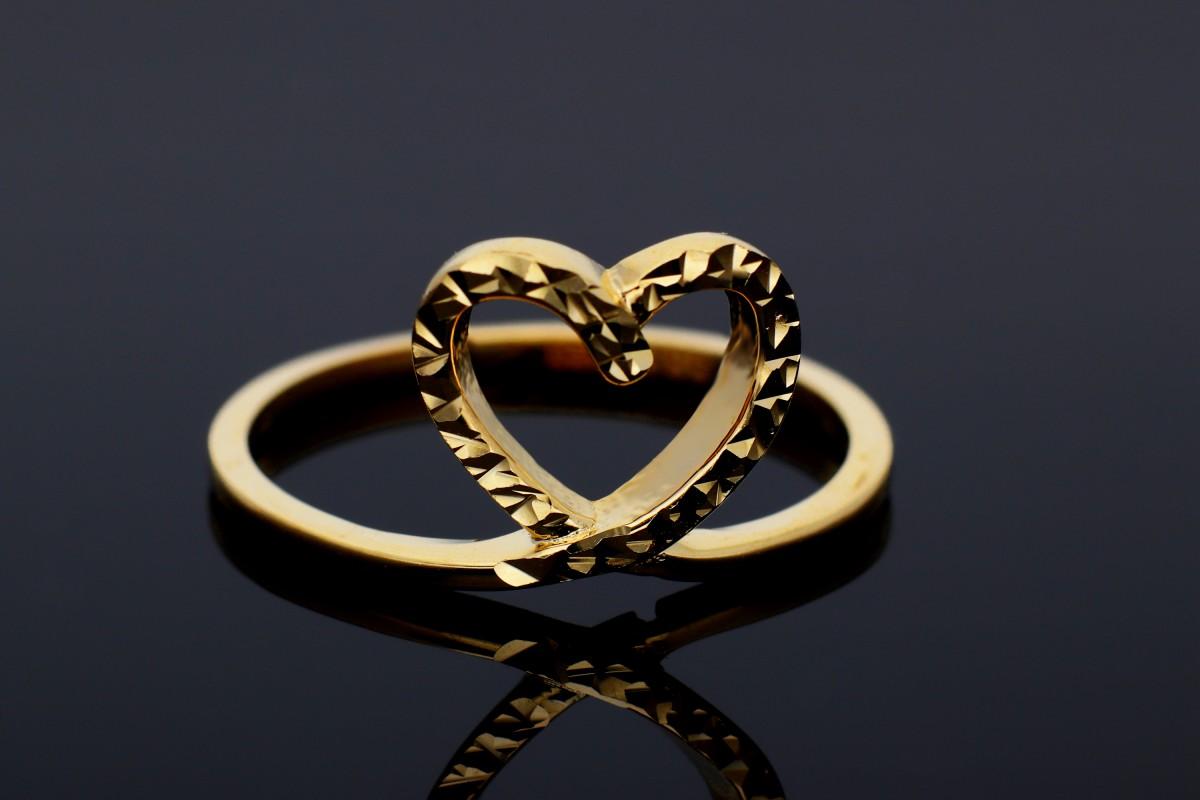Bijuterii aur online - Inel aur 14K galben inimioara