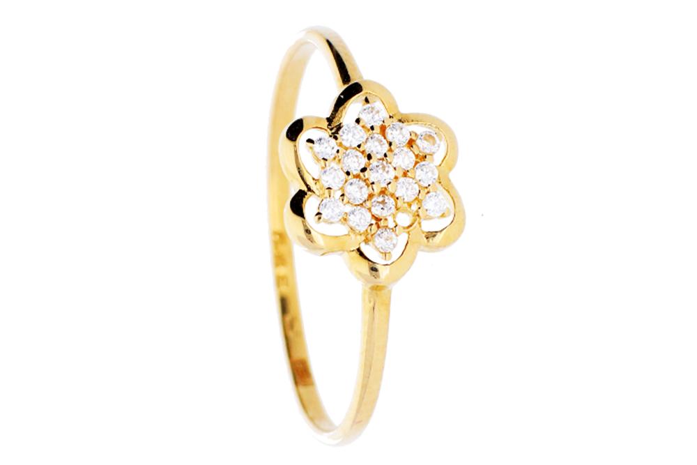 Inel din aur 14K pietre laborator floricica