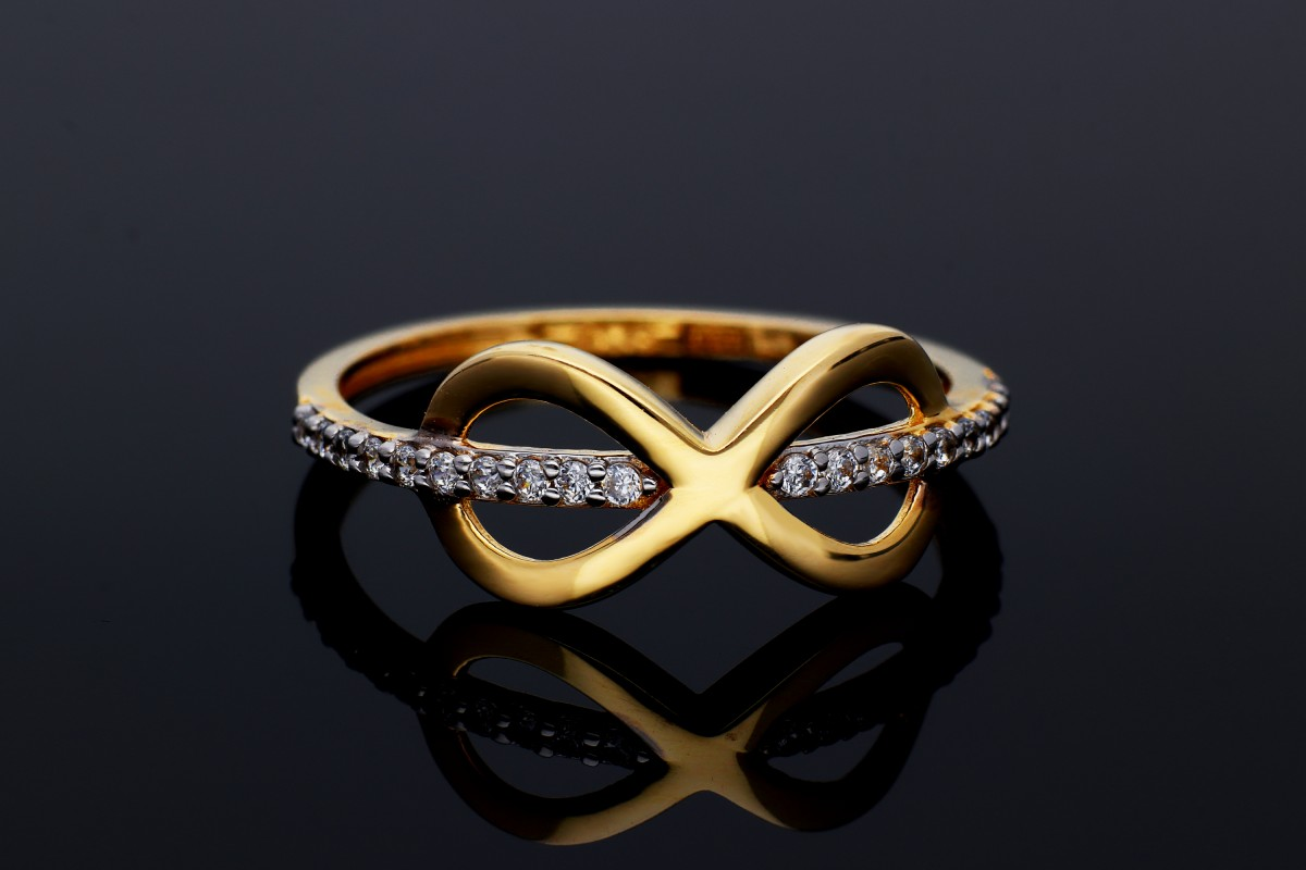 Inel infinit aur 14K bijuterii dama