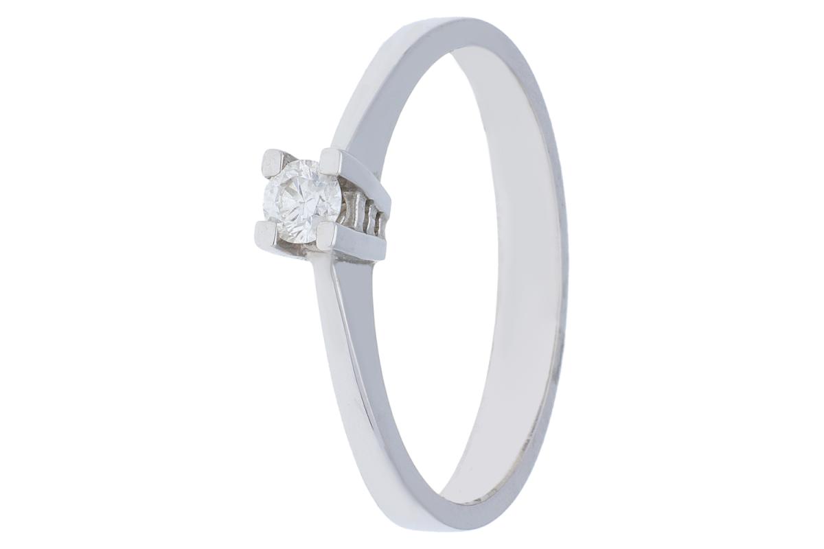 Inel de logodna  cu diamante aur alb 18k