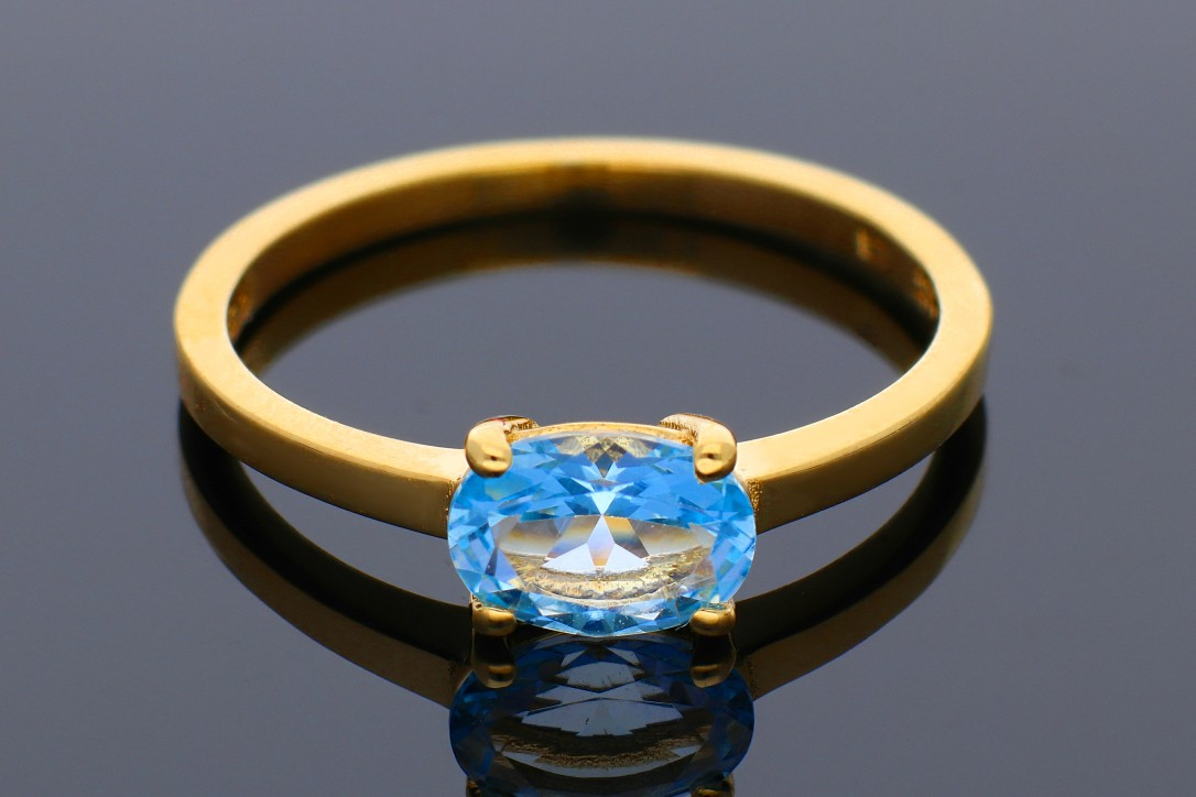 Inele aur 14K galben cu zirconia bleu