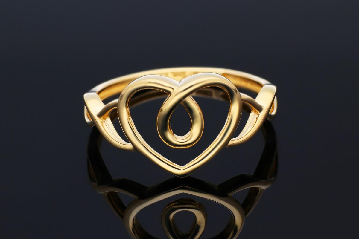 Inele dama din aur 14K galben inimioara