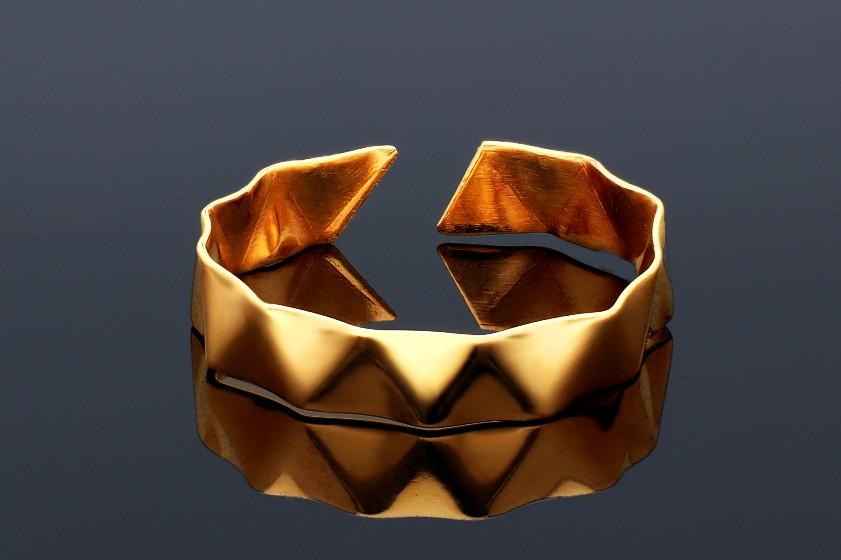 Inele dama din aur 14K galben usor reglabil waves