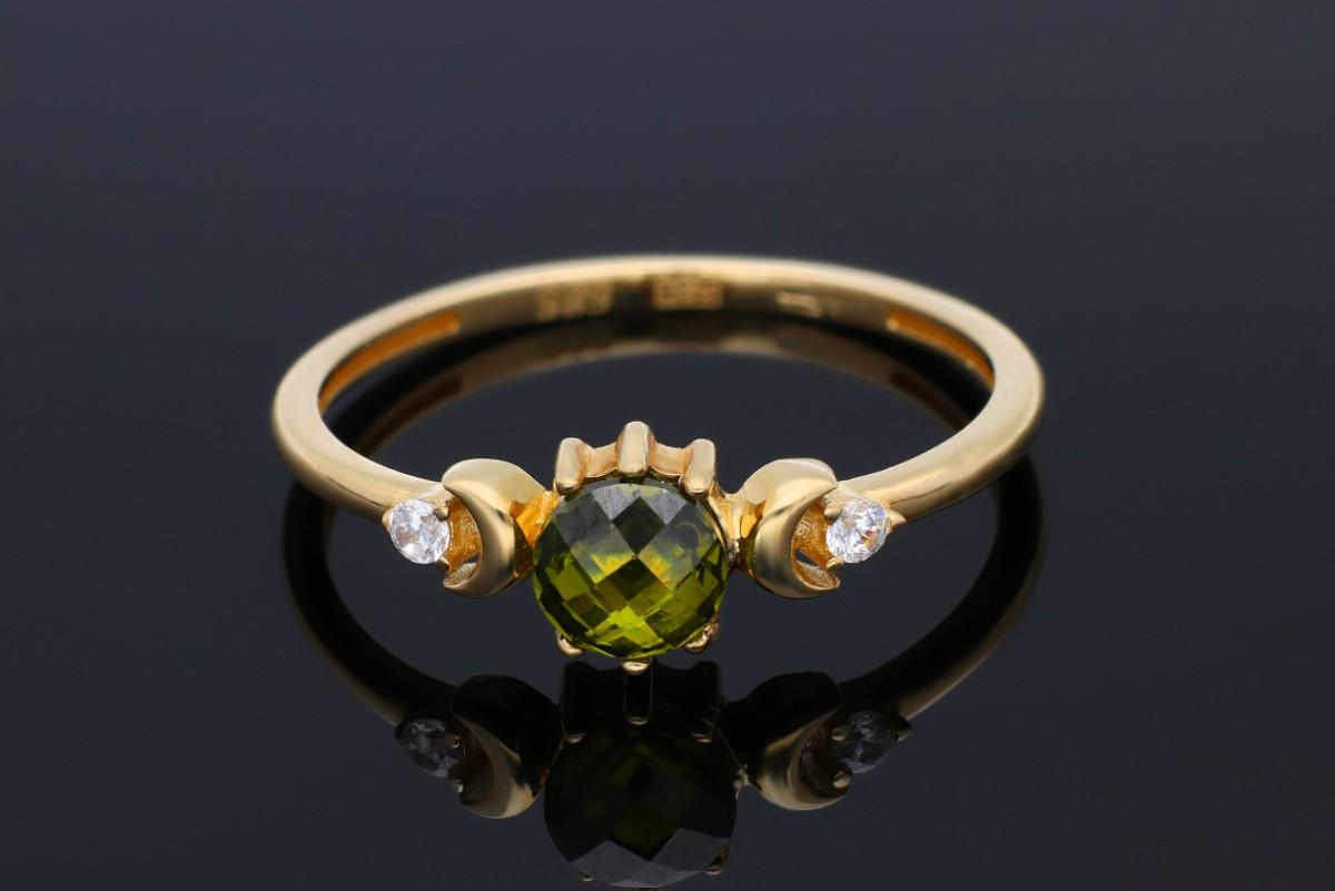Inele dama din aur 14K galben zirconia colorat