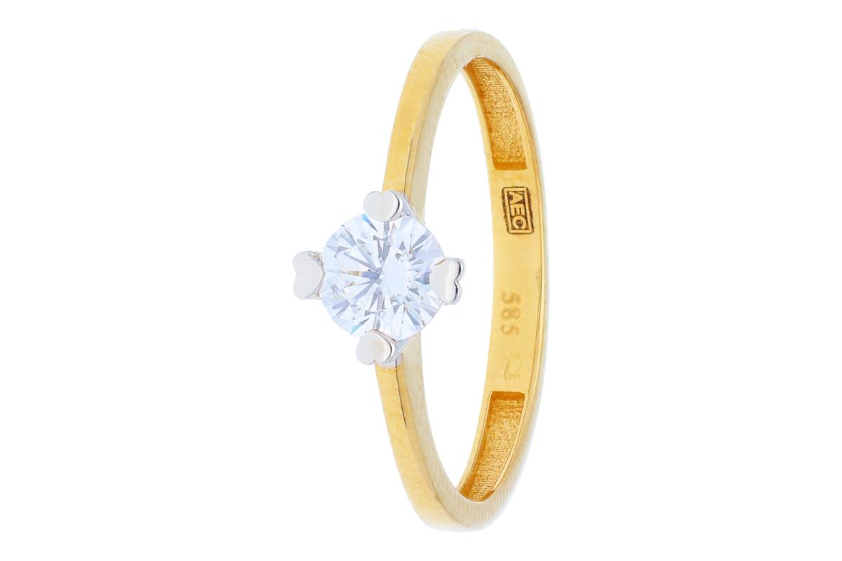 Bijuterii aur online - Inel logodna din aur 14K galben si alb