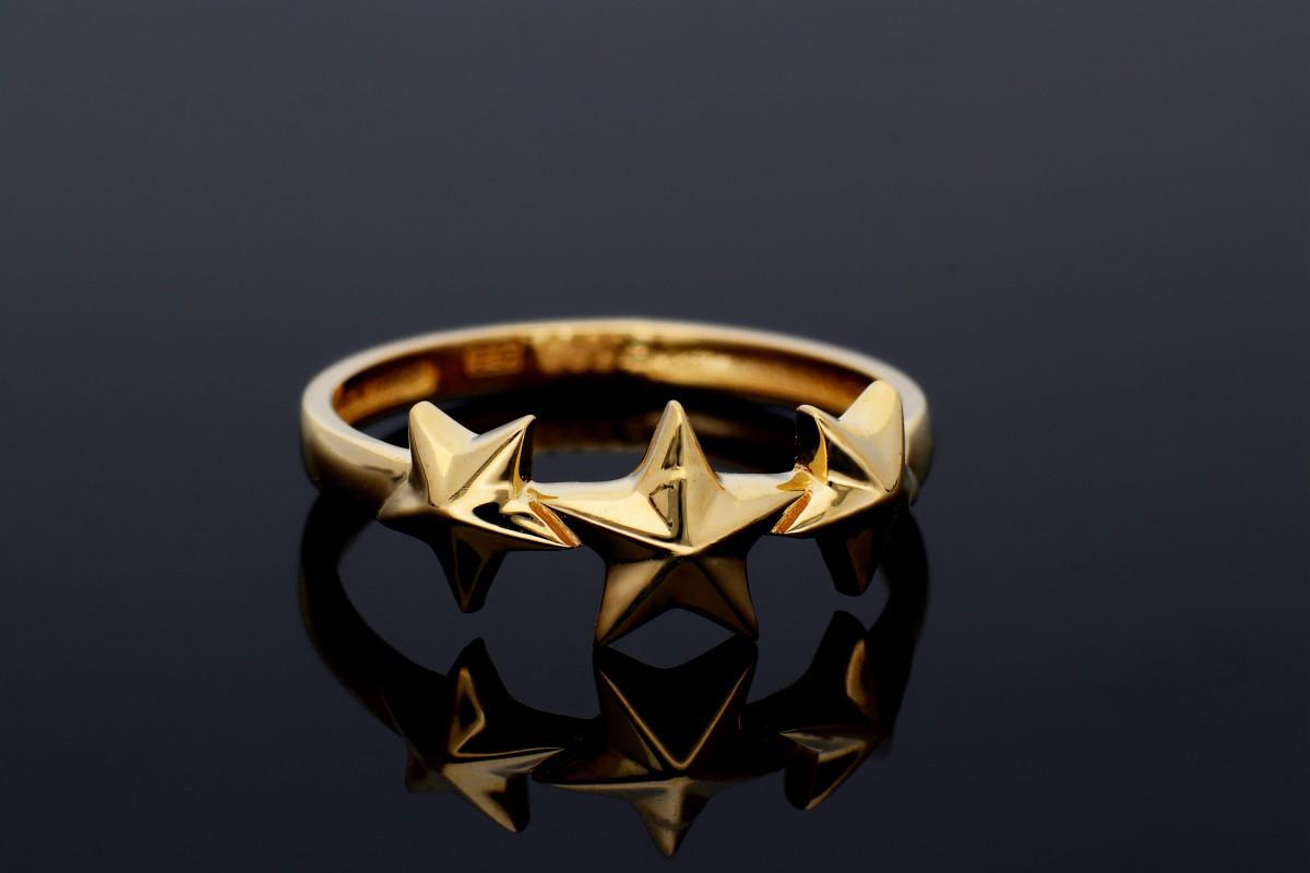 Bijuterii din aur - Inel dama aur 14K galben stelute