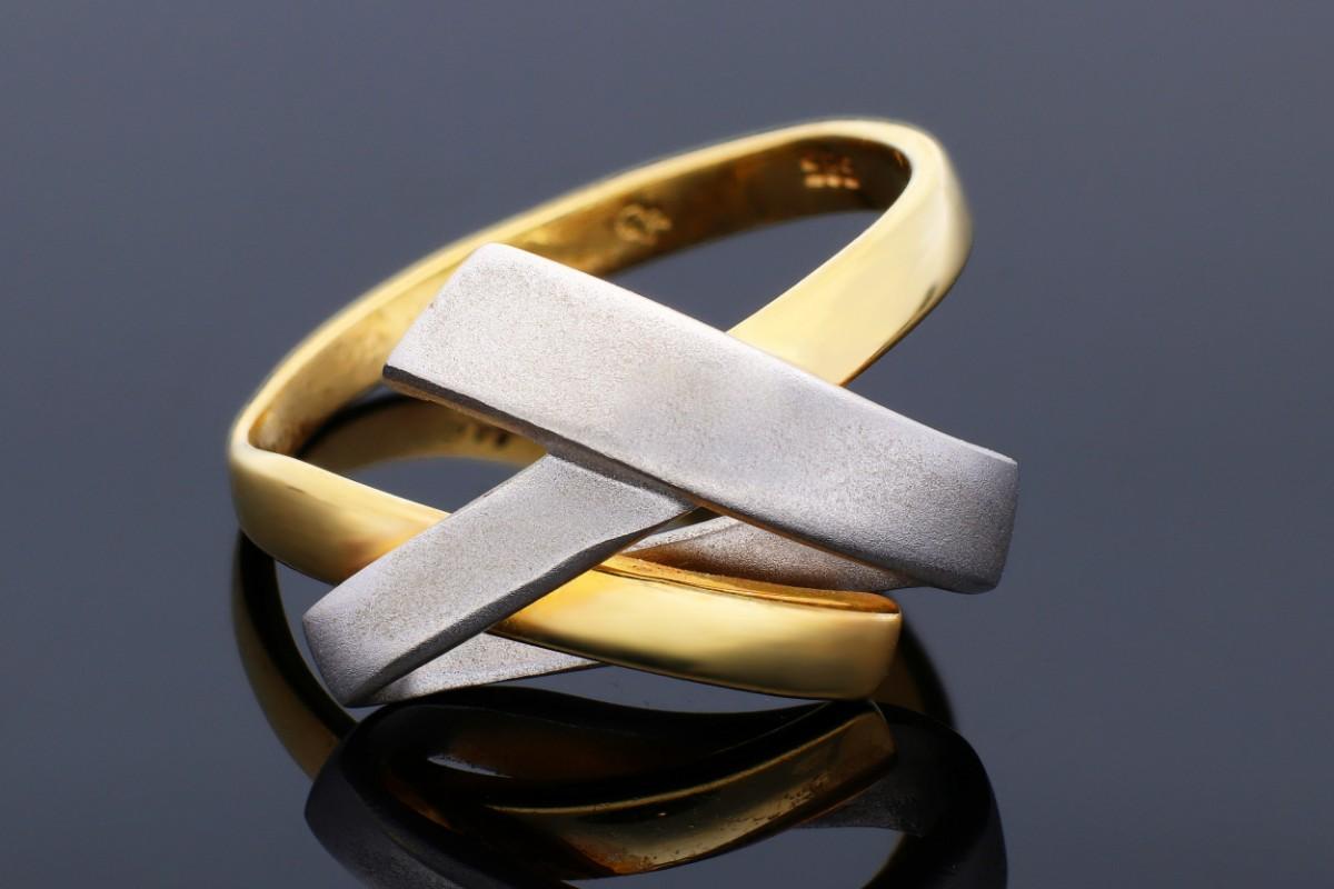 Inel din aur 14K alb si galben