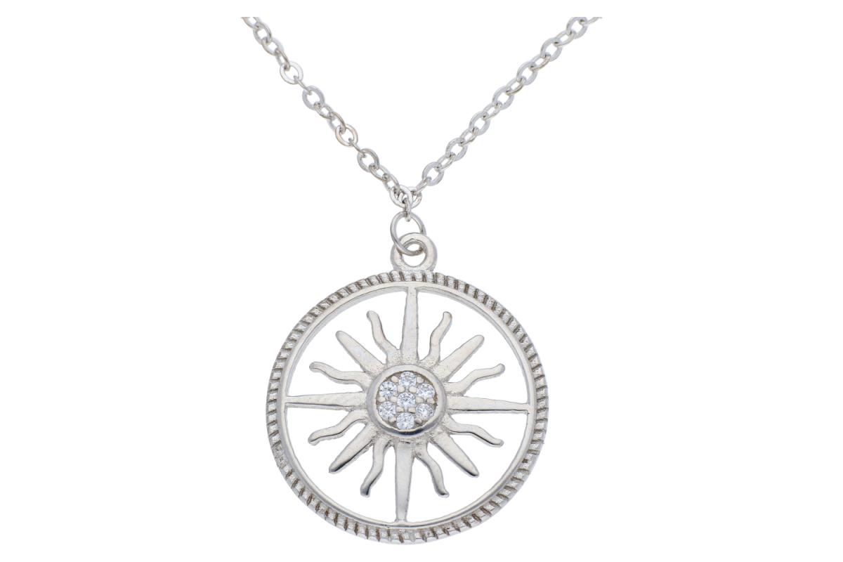 Lant argint 925 cu pandant soare si zirconii