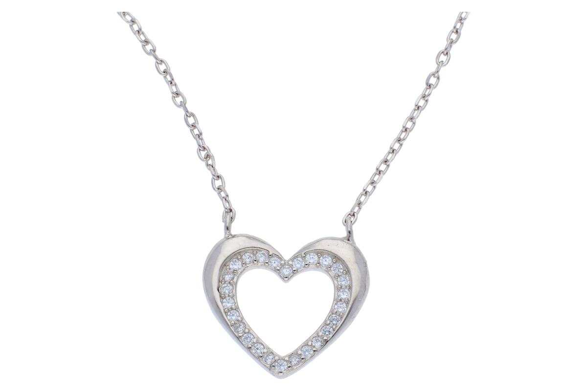 Lant argint 925 cu pandantiv inimioara si zirconii