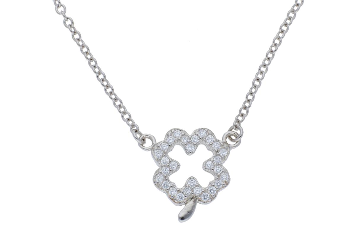 Lant argint 925 cu pandantiv trifoi zirconii