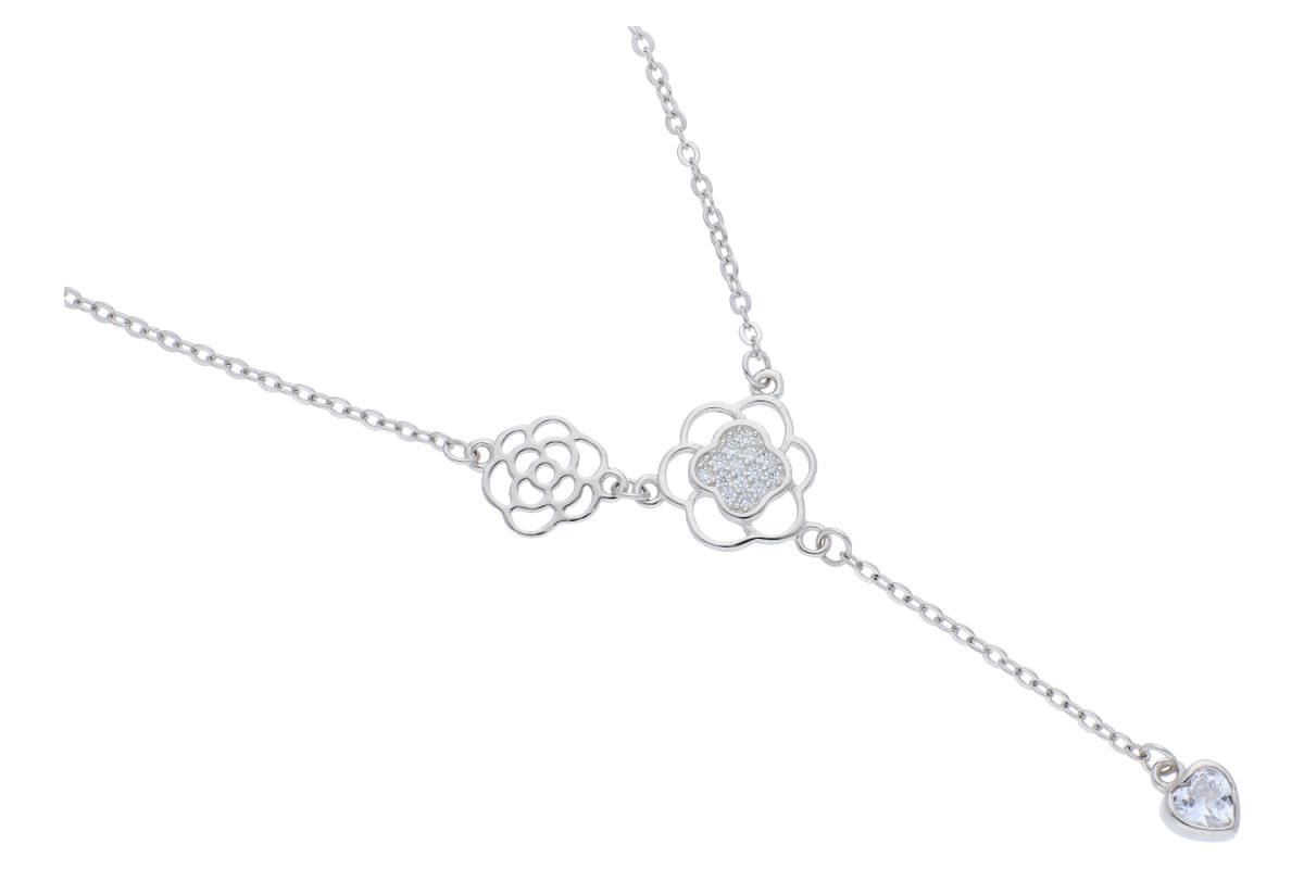 Lant argint 925 cu pandantive floricele