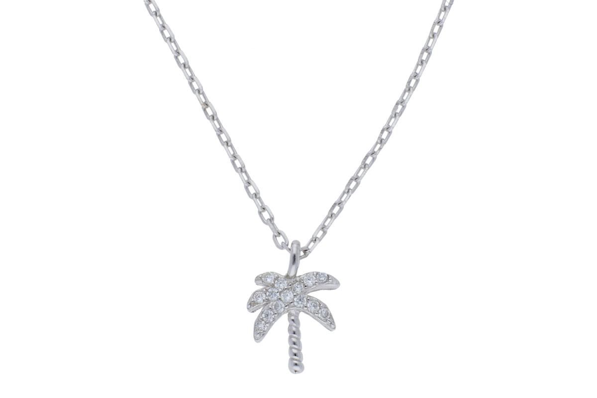 Lant argint 925 pandantiv palmier zirconii