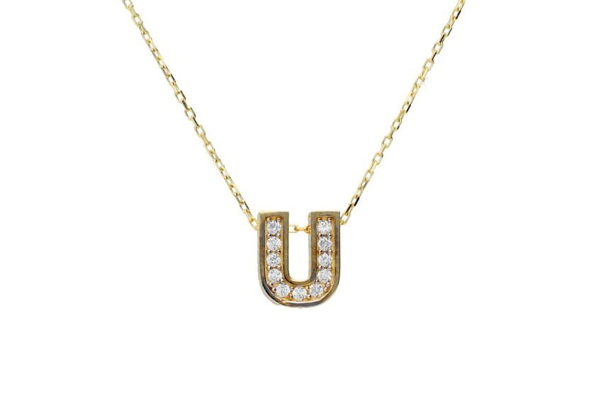 Lantisoare cu initiala U aur 14K galben