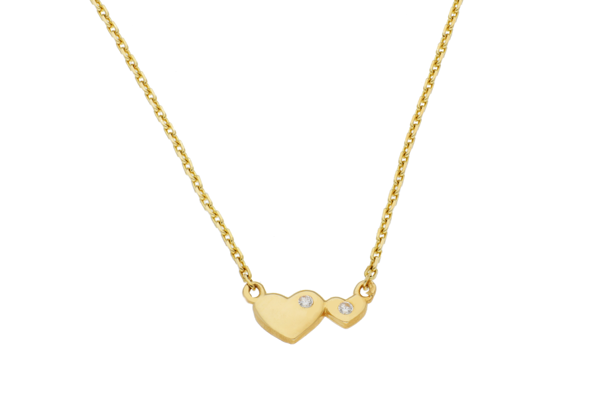 Lant cu pandant aur 14K cadouri bijuterii inimioare