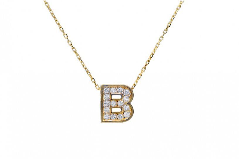 Lantisoare cu initiala dama aur 14K galben initiala B