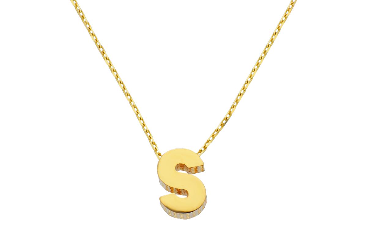 Lant cu pandant aur 14k litera S