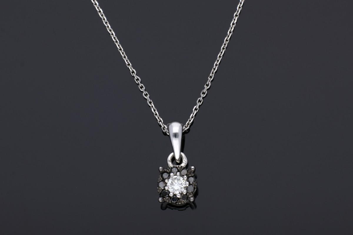 Lant cu pandant aur 18K alb bijuterii cu diamante
