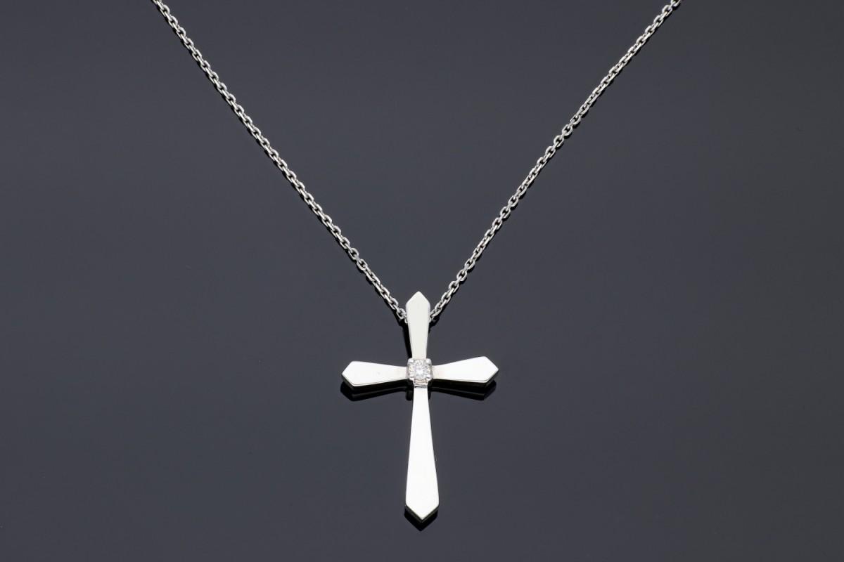 Lant cu pandant aur 18K alb cruciulita cu diamant