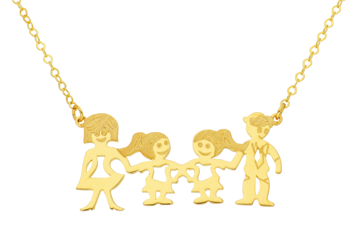 Lantisoare cu pandantiv dama aur 14K galben familie cu 2 fetite