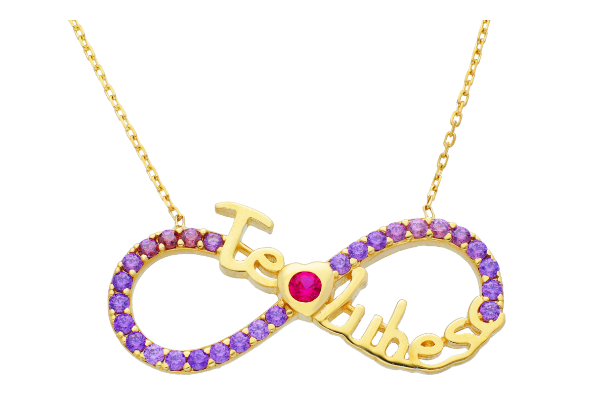 Lantisoare cu pandantiv dama din aur 14K galben cristale violet te iubesc