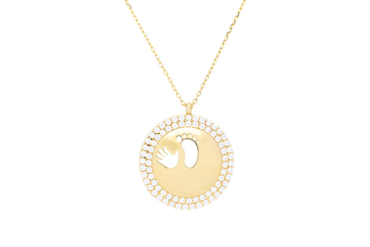 Bijuterii aur - Lantisoare cu pandantiv dama din aur 14K galben gravabil piciorus-manuta