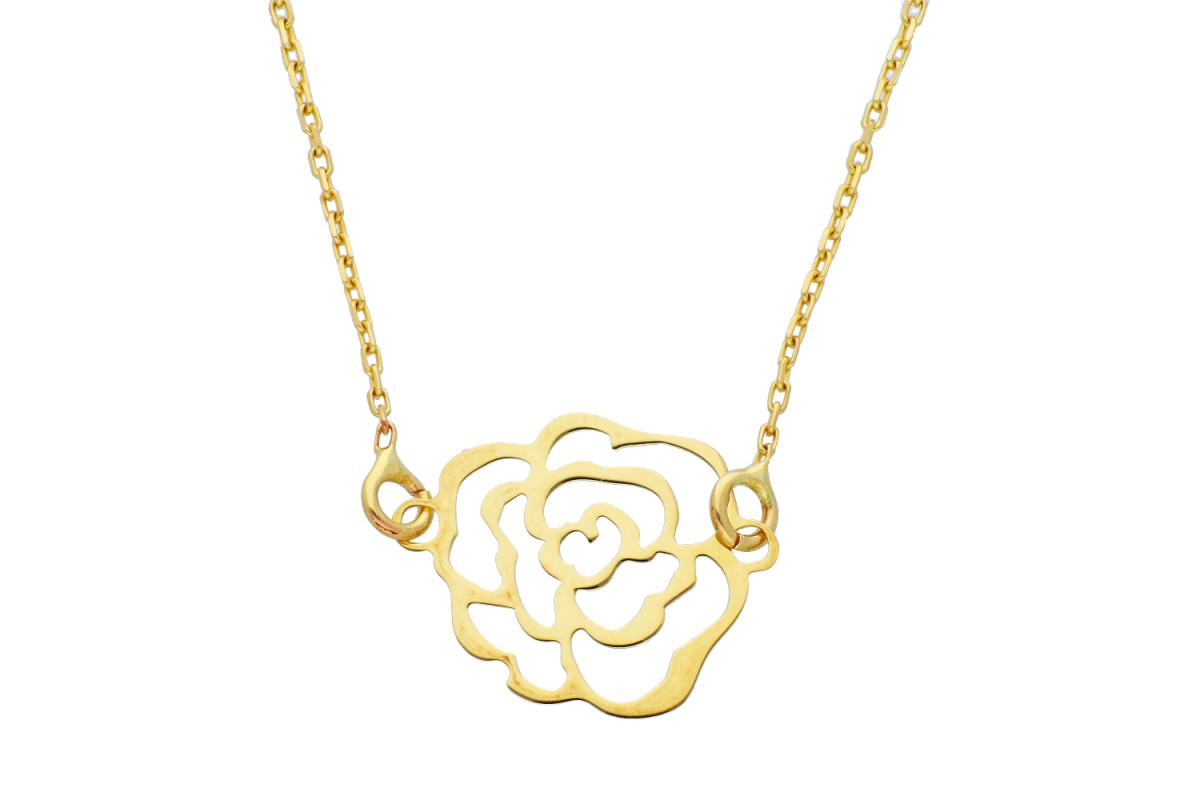 Lantisor cu pandantiv floricica aur 14K galben
