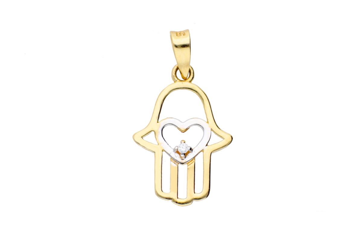 Bijuterii aur online - Medalion dama din aur 14K alb si galben mana fatima