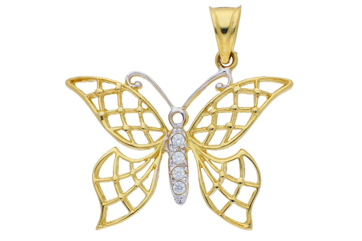 Medalioane aur 14K galben si alb fluturas