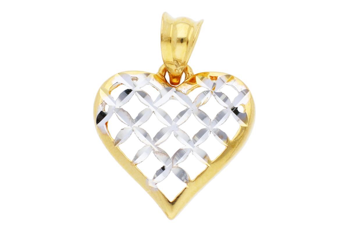 Medalioane dama inimioara aur 14K galben si alb