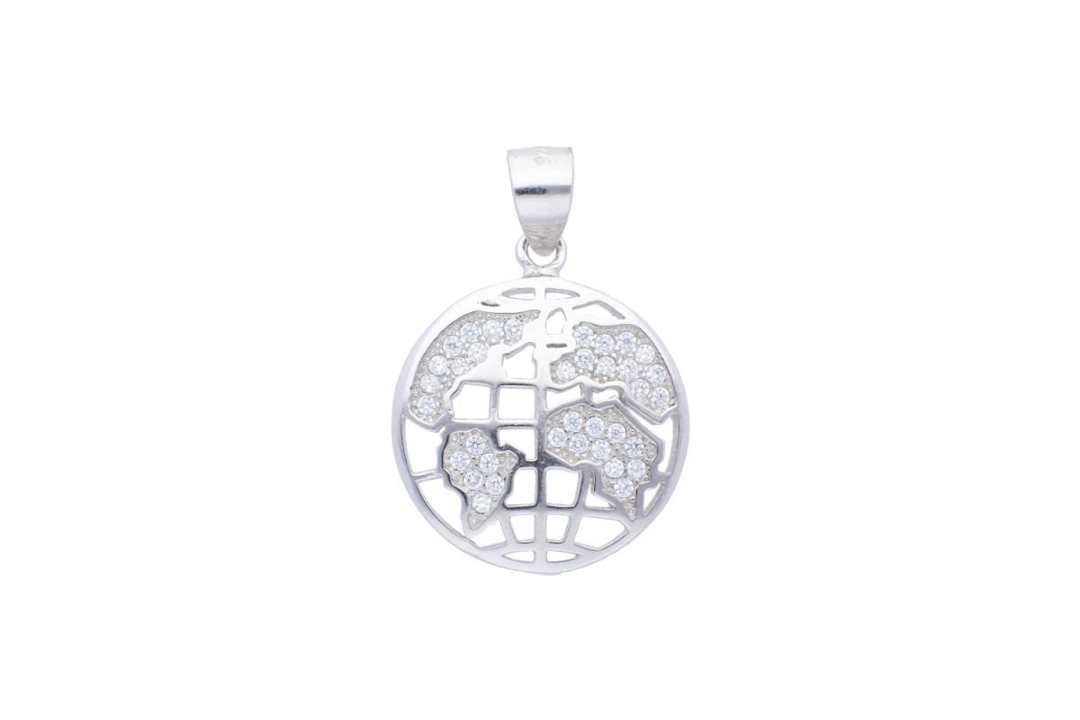 Medalion argint globul pamantesc