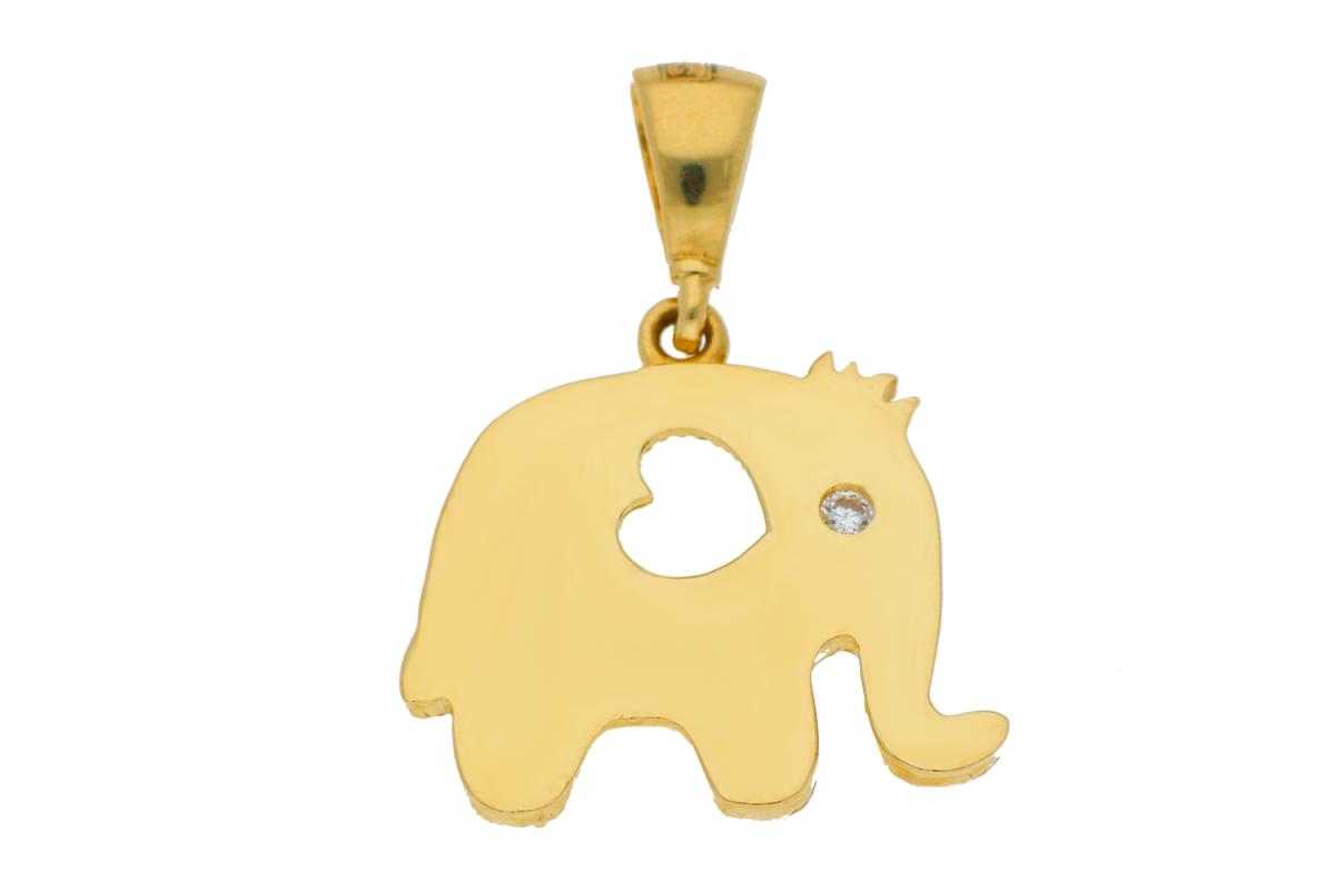 Medalion aur 14K elefantel inimioara