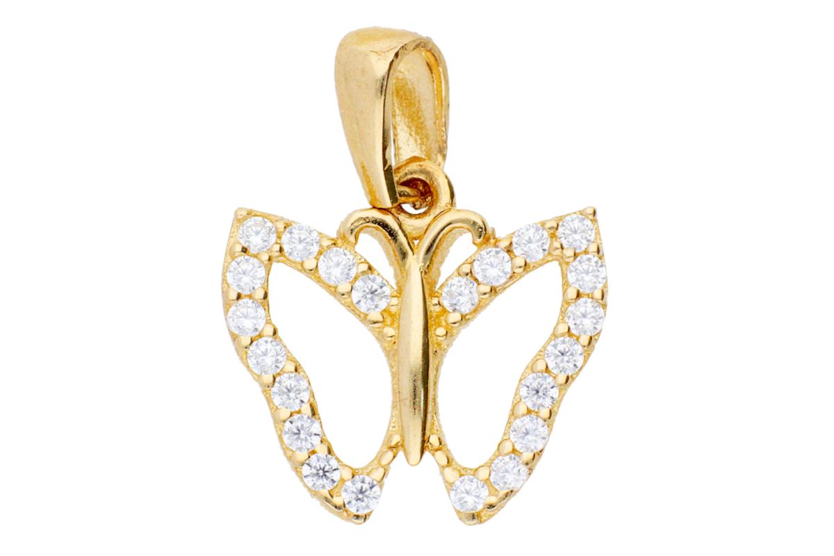 Bijuterii aur - Pandantive dama din aur 14K galben fluturas