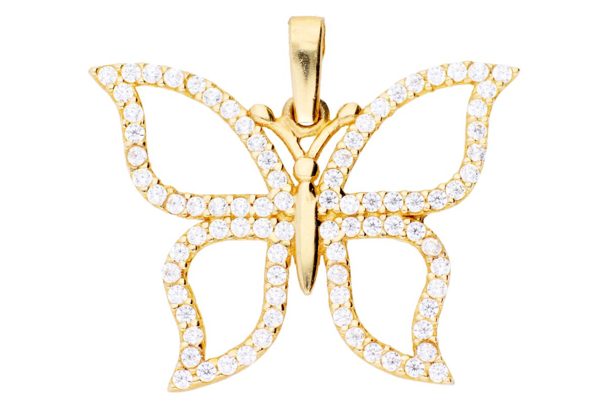 Bijuterii aur online - Medalioane din aur 14K galben fluturas